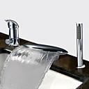 billiga Badrumstillbehör-Badkarskran - Nutida Krom Badkar och dusch Keramisk Ventil Bath Shower Mixer Taps / Två handtag tre hål