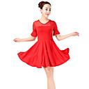 זול הדפסים-ריקוד לטיני שמלות בגדי ריקוד נשים הדרכה פוליאסטר Paillette מפרק מפוצל שרוולים קצרים גבוה שמלה