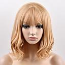 halpa Synteettiset peruukit ilmanmyssyä-Synteettiset peruukit Luonnolliset aaltoilevat Synteettiset hiukset Vaaleahiuksisuus Peruukki Naisten Lyhyt Suojuksettomat
