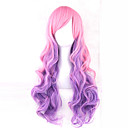 cheap Synthetic Capless Wigs-Synthetic Wig Wavy Pink With Bangs Synthetic Hair Side Part Pink Wig 13cm(Approx5inch) Capless