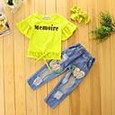 cheap Girls' Clothing Sets-Girls' Solid Clothing Set, Cotton Polyester Summer Fall Short Sleeves Floral Dresswear Yellow