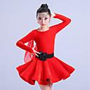 رخيصةأون ملابس رقص لاتيني-الرقص اللاتيني الفساتين فتيات التدريب بوليستر ruching في كم طويل ارتفاع عال فستان