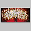זול ציורי שמן-ציור שמן צבוע-Hang מצויר ביד - פרחוני / בוטני / אומנות פופ מודרני כלול מסגרת פנימית / בד מתוח