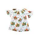 זול חולצות לבנות-שמלה ניילון אביב קיץ חצי שרוול ליציאה חגים דפוס קולור בלוק הילדה של חמוד בוהו לבן