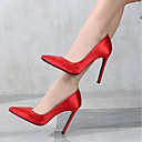 cheap Women's Heels-Women's Satin Spring / Fall Basic Pump Heels Stiletto Heel Pointed Toe Silver / Red / Pink / Party & Evening