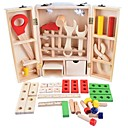 cheap Pretend Shopping & Grocery-Wooden Child Carpenter Construction Tool Box Toy Tool Exquisite Wooden Boys' Kid's Gift 35 pcs