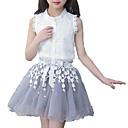 זול סטים של ביגוד לבנות-סט של בגדים כותנה ללא שרוולים אחיד / דפוס ליציאה פשוט / פעיל בנות ילדים