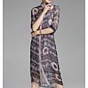 זול קריקטורה Duvet כריכות-צווארון עגול קצר מידי פרחוני - שמלה חולצה בסיסי בגדי ריקוד נשים