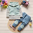 זול סטים של ביגוד לבנים-סט של בגדים כותנה אביב סתיו שרוול ארוך יומי בית הספר אחיד פסים טלאים בנים פשוט אפור כחול בהיר