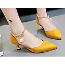 זול נעלי עקב לנשים-בגדי ריקוד נשים נעליים מיקרופייבר אביב / סתיו נוחות עקבים עקב גביע שחור / צהוב