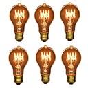 economico Incandescente-6pcs 40W E26/E27 A60(A19) Bianco caldo 2200-2700 K Retrò Oscurabile Decorativo Incandescente Vintage Edison Lampadina 220V-240V V