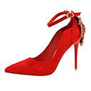 olcso Női magassarkú cipők-Női Cipő Fordított bőr Tavasz / Ősz Kényelmes / Újdonság Magassarkúak Tűsarok Erősített lábujj Strasszkő / Gyöngydíszítés / Csat Zöld /