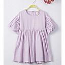 tanie Sukienki dla dziewczynek-Dzieci Dla dziewczynek Prosty Codzienny / Święto Solidne kolory Krótki rękaw Bawełna Sukienka Fioletowy 140
