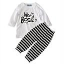 זול חולצות לבנות-יוניסקס יומי חגים פסים דפוס סט של בגדים, כותנה אביב סתיו שרוול ארוך פעיל לבן