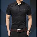 billige Tilbehør til herrer-Bomull Spredt krage Skjorte Herre - Ensfarget Arbeid / Kortermet