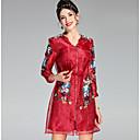 זול אביזרים לעיצוב הגבות-מותניים גבוהים מעל הברך רקום, פרחוני - שמלה גזרת A רזה מתוחכם בגדי ריקוד נשים