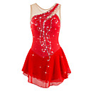 cheap Ice Skating Dresses , Pants & Jackets-Figure Skating Dress Women's / Girls' Ice Skating Dress Red Rhinestone / Sequin High Elasticity Performance / Practise / Leisure Sports