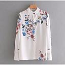 hesapli Moda Küpeler-Kadın's Pamuklu Dik Yaka Gömlek Desen, Çiçekli Temel Tatil / Bahar / Yaz / Nakışlı