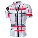 cheap Men's Sneakers-Men's Daily Basic Plus Size Polo - Plaid Print Shirt Collar White XL / Short Sleeve / Summer