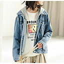 cheap Artificial Plants-Women's Vintage Denim Jacket-Solid Colored,Pleated