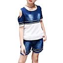 זול סטים של ביגוד לבנות-בנות יומי ספורט אחיד פסים סט של בגדים, כותנה פוליאסטר קיץ שרוולים קצרים פעיל בסיסי פול