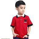 tanie Topy dla chłopców-Dzieci Dla chłopców Prosty Codzienny Solidne kolory Krótki rękaw Bawełna T-shirt Niebieski