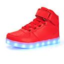 זול LED Shoes-בנים נעליים זוהרות PU נעלי ספורט ילדים גדולים (7 שנים +) נצנצים / LED שחור / כסף / אדום סתיו / חורף / גומי