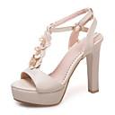 ieftine Tocuri de Damă-Pentru femei Pantofi PU Primăvară / Vară Confortabili / Noutăți Sandale Toc Îndesat Vârf deschis Ținte / Cataramă Bej / Mov / Roz