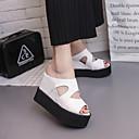 cheap Women's Sandals-Women's Shoes PU(Polyurethane) Spring / Summer Comfort Sandals Wedge Heel Open Toe White / Black