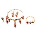 זול שרשרת אופנתית-בגדי ריקוד נשים סט תכשיטים - ציפוי זהב הצהרה, נשים, אופנתי לִכלוֹל זהב עבור חתונה Party / עגילים