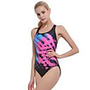 cheap Athletic Swimwear-Women's One Piece Swimsuit Chlorine resistance, Comfortable, Sports Nylon / Spandex Sleeveless Swimwear Beach Wear Bodysuit Reactive Print Swimming