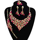 זול סטים של תכשיטים-בגדי ריקוד נשים סט תכשיטים - Leaf Shape הצהרה, וינטאג', גדול לִכלוֹל צמידים שרשרת טבעת הצהרה סגול / קשת / אדום עבור חתונה Party / עגילים משתלשלים / עגילים