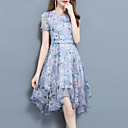 cheap Women's Sneakers-Women's Plus Size Going out Sophisticated Street chic Slim Sheath Dress - Floral Blue, Print