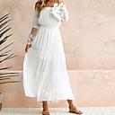 povoljno Svečana plesna odjeća-Žene Plaža Swing kroj Haljina - Čipka, Jedna barva Spuštena ramena Maxi Bijela