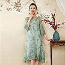 זול ציורים מופשטים-רקום, פרחוני - שמלה משוחרר סגנון סיני בגדי ריקוד נשים
