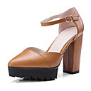cheap Women's Flats-Women's Shoes Synthetic Microfiber PU Spring / Fall Comfort / Novelty Heels Chunky Heel Pointed Toe Buckle Black / Beige / Brown
