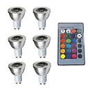 cheap Indoor IP Network Cameras-6pcs 3W 280lm GU10 LED Spotlight 1 LED Beads Dimmable Decorative Remote-Controlled RGB 200-240V