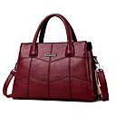 cheap Women's Heels-Women's Bags PU Tote Ruffles / Tassel / Embossed Red / Gray / Purple