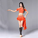 cheap Belly Dance Wear-Belly Dance Outfits Women's Performance Modal Tulle Ruching Short Sleeves Dropped Skirts Top