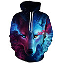 cheap Bag Sets-Men's Plus Size Active Long Sleeve Loose Hoodie & Sweatshirt - 3D Print Wolf, Modern Style Hooded / Fall / Winter