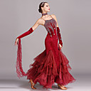 cheap Historical & Vintage Costumes-Ballroom Dance Dresses Women's Training Performance Velvet Crystals / Rhinestones Sleeveless High Dress Bracelets Neckwear