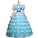 cheap Historical & Vintage Costumes-Fairytale Victorian Renaissance 18th Century Costume Women's Dress Outfits Party Costume Masquerade White / Blue Vintage Cosplay Party Prom 3/4 Length Sleeve Puff / Balloon Sleeve Ball Gown Plus Size