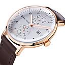 preiswerte Herrenuhren-MINI FOCUS Herrn Armbanduhren für den Alltag Japanisch Kalender / Armbanduhren für den Alltag / Cool Echtes Leder Band Modisch Schwarz / Braun
