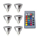 cheap LED Smart Bulbs-6pcs 3W 280lm MR16 LED Spotlight 1 LED Beads Dimmable Decorative Remote-Controlled RGB 12V