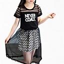 זול סטים של ביגוד לבנות-סט של בגדים פוליאסטר קיץ סתיו שרוולים קצרים יומי אחיד בנות פשוט לבן שחור