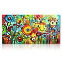 billige Oljemalerier-styledecor® moderne håndmalte abstrakt sirkelen blomster oljemaleri på lerret for veggkunst på innpakket lerret