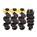 tanie Plecaki-3 zestawy z zamknięciem Włosy peruwiańskie Body wave 8A Włosy naturalne Taśma włosów z zamknięciem 8-22 in Kolor naturalny Ludzkie włosy wyplata z Baby Hair Rozbudowa Seksowna kobieta Ludzkich włosów