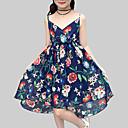 tanie Sukienki dla dziewczynek-Dzieci Dla dziewczynek Boho Codzienny / Święto Kwiaty Bez rękawów Poliester Sukienka Czerwony 140