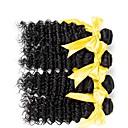 baratos Torneiras de Cozinha-4 pacotes Cabelo Mongol / Onda Profunda Ondulado Cabelo Humano Cabelo Humano Ondulado / Um Pacote de Solução / Extensões de Cabelo Natural 8-28 polegada Tramas de cabelo humano Fabrico à Máquina
