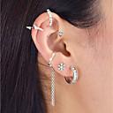 זול עגילים אופנתיים-6pcs עגילים צמודים עגילי קליפס חפתים אוזן - פרח נשים רוק תכשיטים כסף עבור יומי פגישה (דייט)